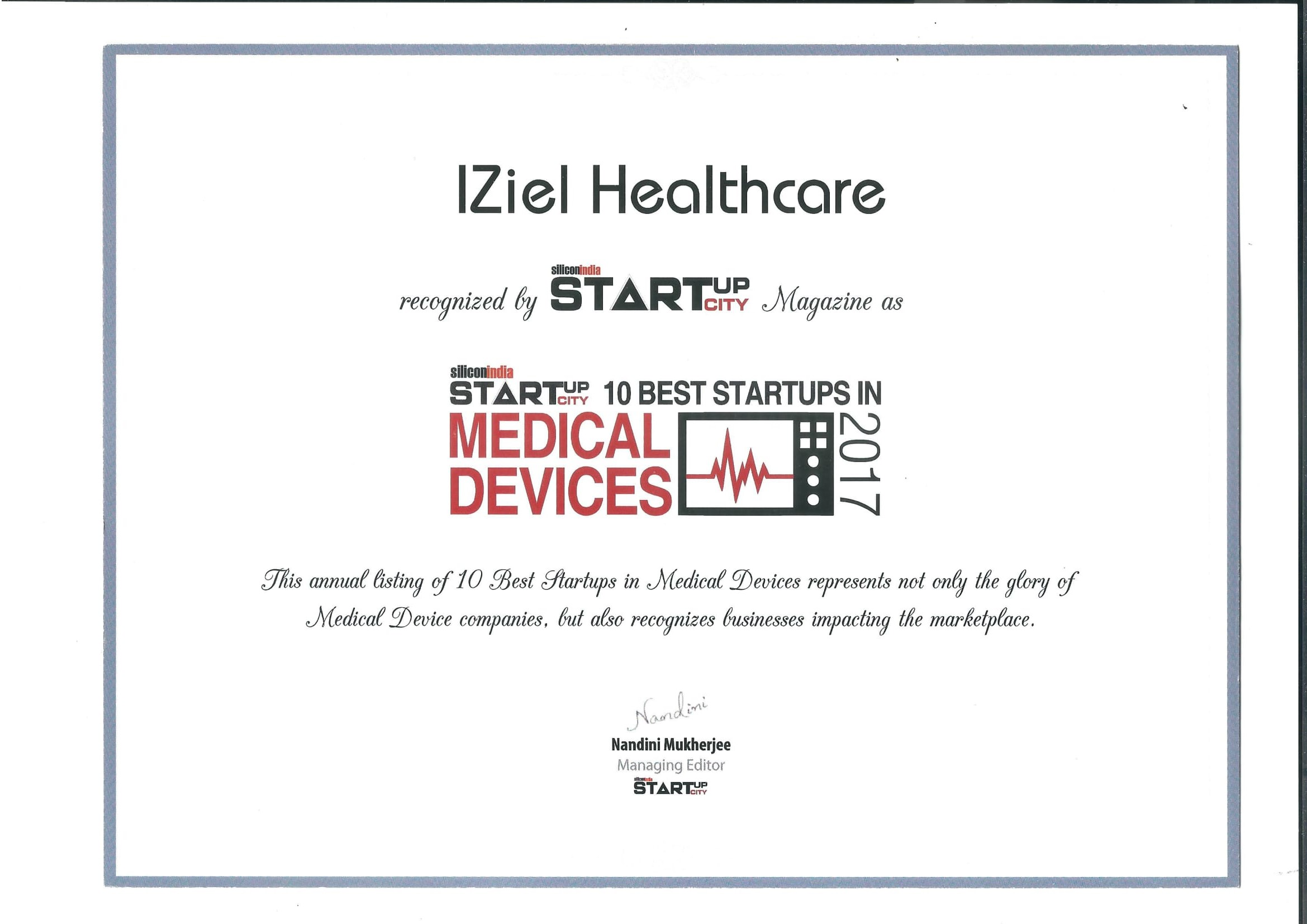 Selected as 10 best startups in medical device 2017 by silicon selected as 10 best startups in medical device 2017 by silicon india startup city xflitez Gallery