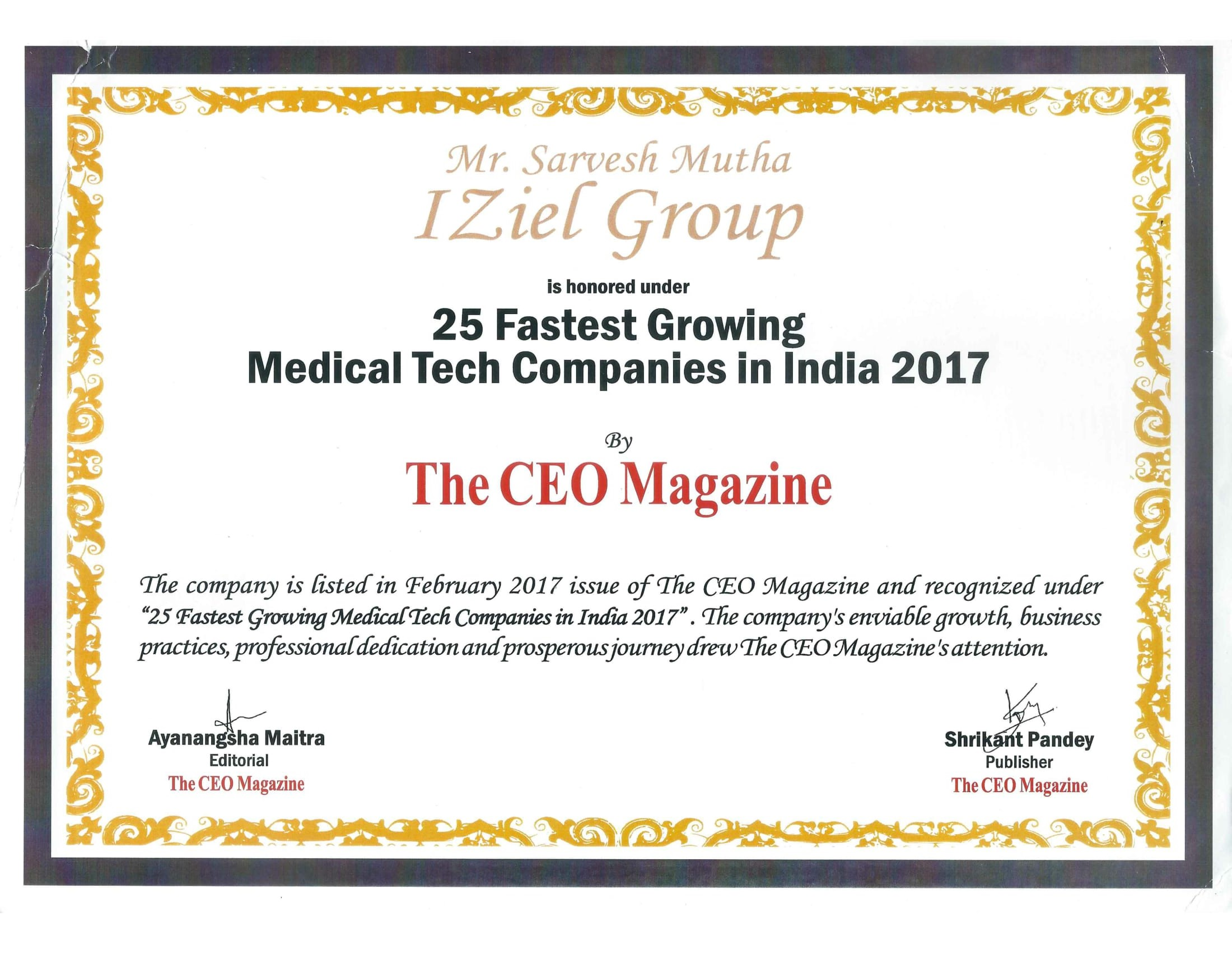 Selected As 25 Fastest Growing Med Tech Companies In India By The